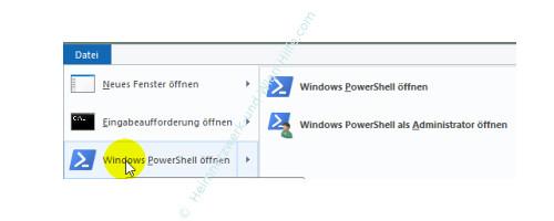 Die neuen Funktionen des neuen Windows 10 Explorers – Windows PowerShell öffnen