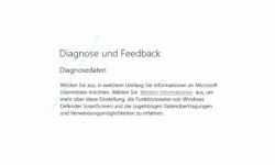 Windows 10 Tutorial - Daten (Telemetriedaten) anzeigen, die von Windows an Microsoft übertragen werden - Konfigurationsfenster Diagnose und Feedback