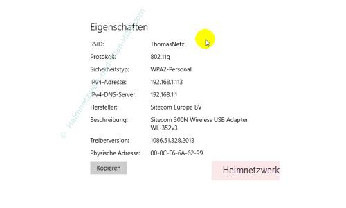 Windows 10 - Die neuen Netzwerkkonfigurationsmenüs – Anzeige der Wlan-Adaptereigenschaften