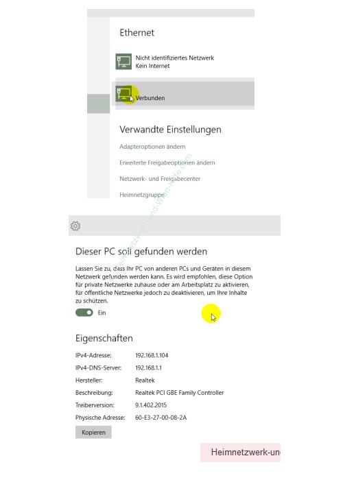 Windows 10 - Die neuen Netzwerkkonfigurationsmenüs – Konfigurationsfenster Ethernet