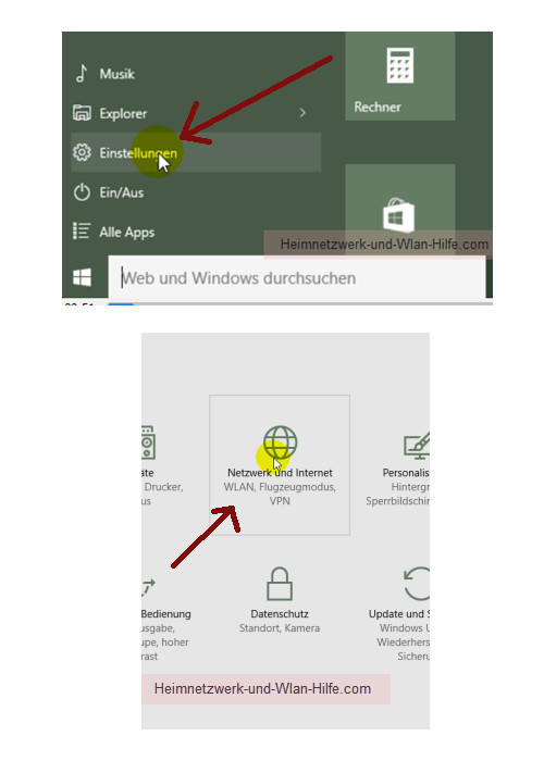 Windows 10 - Die neuen Netzwerkkonfigurationsmenüs – Das Menü Einstellungen über das Startmenü aufrufen