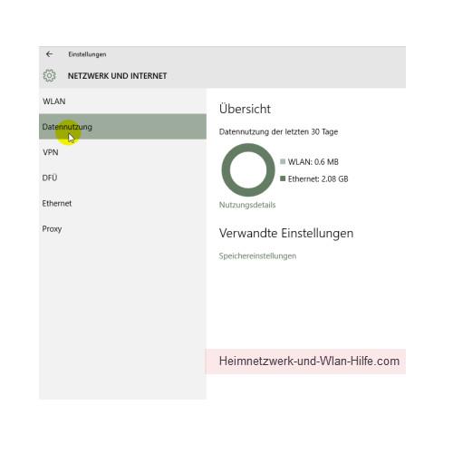 Windows 10 - Die neuen Netzwerkkonfigurationsmenüs – Netzwerk und Internet, Menü Datennutzung
