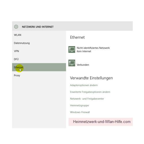 Windows 10 - Die neuen Netzwerkkonfigurationsmenüs – Netzwerk und Internet, Menü Ethernet