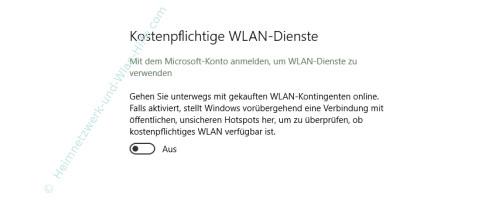 Windows 10 - Die neuen Netzwerkkonfigurationsmenüs – Die Option Kostenpflichtige Wlan-Dienste
