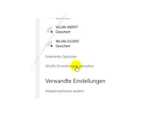 Windows 10 - Die neuen Netzwerkkonfigurationsmenüs – Die Option Wlan Einstellungen verwalten