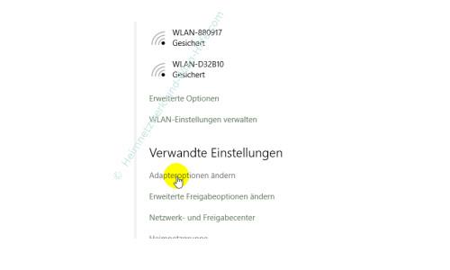 Windows 10 - Die neuen Netzwerkkonfigurationsmenüs – Wlan-Option: Adapteroptionen ändern