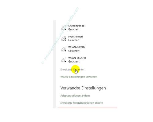 Windows 10 - Die neuen Netzwerkkonfigurationsmenüs – Die Wlan-Option Erweiterte Optionen