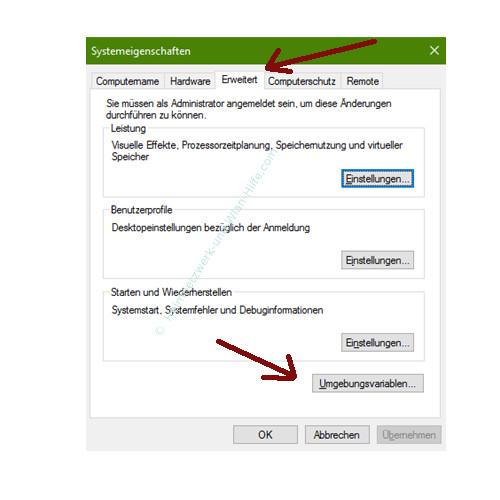Windows 10 - Temporäre Dateien finden und entfernen – Das Fenster Systemeigenschaften, Register Erweitert, Button Umgebungsvariablen