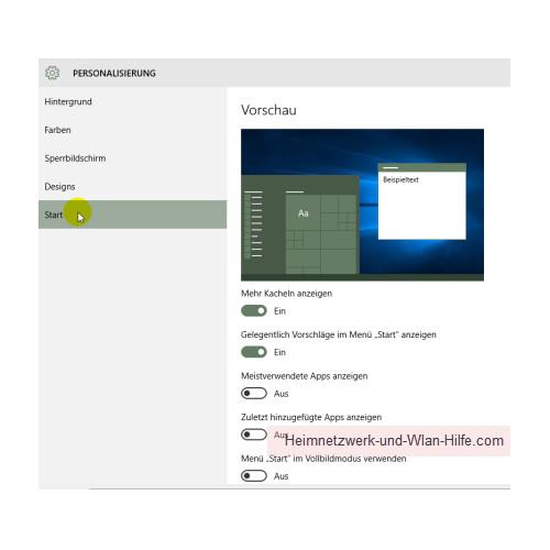 Nervige Werbe-Apps aus dem Windows 10 Startmenü entfernen – Das Untermenü Start im Menübereich Personalisierung