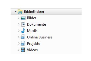 Heimnetzwerk Tutorials: Windows 7 Dateien und Drucker freigeben - Ansicht Bibliotheken im Windows Explorer