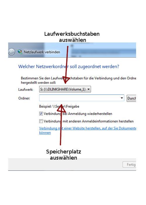 Windows 7 - Laufwerksbuchstaben zuweisen - Speicherplatz und LW-Buchstaben wählen