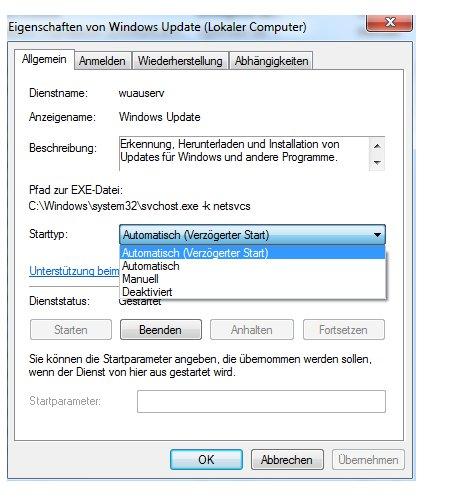 Windows 7 Dienste aktivieren oder deaktivieren - Den Starttyp eines Windows Fensters auswählen
