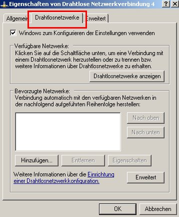Wlan-Netzwerk Anleitungen: Wlan-Netzwerkkarte konfigurieren! Fenster Wlan-Adapter Eigenschaften - Register Drahtlosnetzwerke