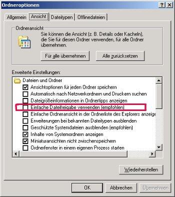 etzwerk Anleitung: Zugriffsberechtigungen für Dateien und Ordner unter Windows vergeben! Option Einfache Dateifreigabe