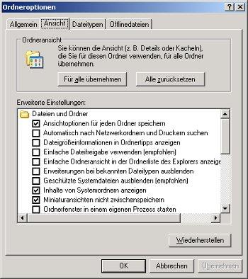 Netzwerk Anleitung: Zugriffsberechtigungen für Dateien und Ordner unter Windows vergeben! Ordneroptionen - Register Ansicht